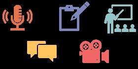 Icoontjes van vormen feedback, namelijk gesproken, geschreven, opgenomen, groepsfeedback en audiofeedback