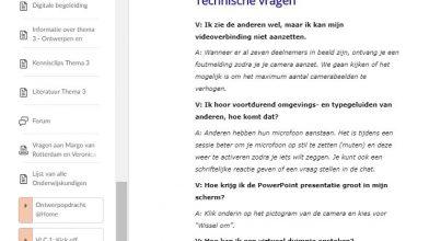 Voorbeeld van FAQ's in een Brightspace course