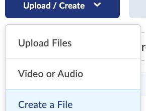 De optie 'Create a File' is zichtbaar nadat je op de knop 'Upload / Create' hebt geklikt.
