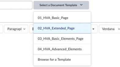 De afbeelding laat de verschillende sjablonen zien die onder 'Select a Document Template' zijn ondergebracht.