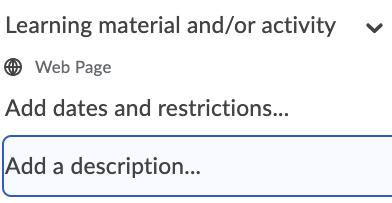 Tekstvak van beschrijvingen bij leerobjecten