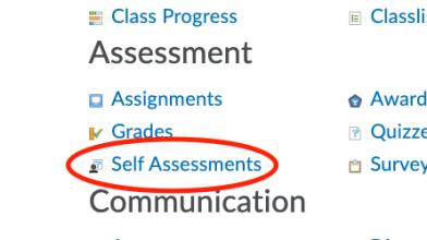 Self assessments